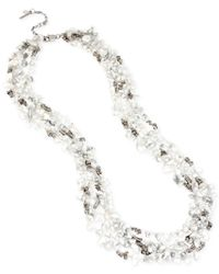 Kenneth Cole | Metallic Silver-tone Semiprecious Chip Bead Multi-row Long Necklace | Lyst