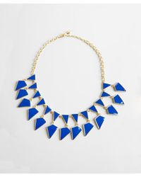 Kenneth Jay Lane | Blue Navy And Gold Enamel Geometric Bib Necklace | Lyst