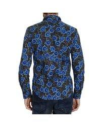 John Richmond | Blue Printed Cotton Long Sleeve Shirt for Men | Lyst