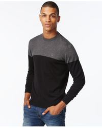 Armani Jeans | Gray Colorblocked Long-sleeve Sweater for Men | Lyst