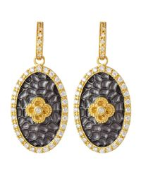 Freida Rothman | Metallic Hammered Flower Crystal Drop Earrings | Lyst