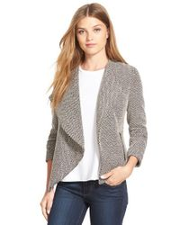 Halogen | Gray Patterned Draped Jacket | Lyst
