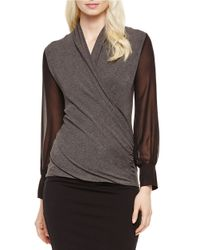 Vince Camuto | Gray Mixed-media Chiffon-sleeved Jersey Top | Lyst