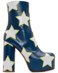 Vetements | Blue And White Star Platform Boots | Lyst