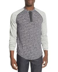 Original Penguin | Gray Slub Long Sleeve Henley for Men | Lyst
