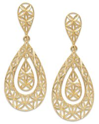 Macy's | Metallic Diamond-cut Teardrop Earrings In 10k Gold | Lyst