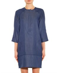Vince - Blue Collarless Denim Dress - Lyst