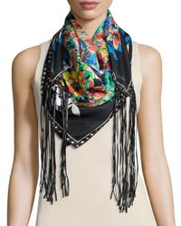 Roberto Cavalli - Multicolor Floral Silk Leather-tassel Scarf - Lyst