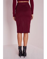 Missguided - Purple Ribbed Wrap Midi Skirt Burgundy - Lyst