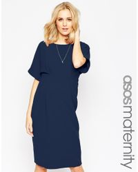 ASOS - Blue Maternity Wiggle Dress With V Back - Lyst