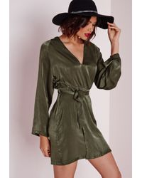 Missguided | Natural Silky Kimono Wrap Mini Dress With Belt Khaki | Lyst