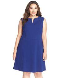 Tahari - Blue Hardware Detail Sleeveless Fit & Flare Dress - Lyst