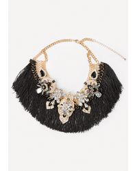 Bebe | Black Tassel Fringe Necklace | Lyst