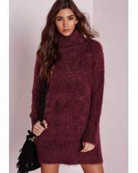 Lyst - Missguided Fluffy Roll Neck Jumper Dress Burgundy in Brown 437fb71c0