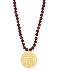 Nest | Metallic Red Horn Bead Necklace With Pendant | Lyst