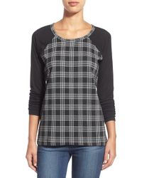 Sanctuary | Black Plaid Baseball Tee | Lyst