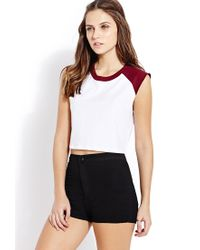 Forever 21 - White Sporty Colorblocked Crop Top - Lyst