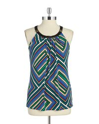 Calvin Klein | Multicolor Faux Leather Trimmed Halter Top | Lyst