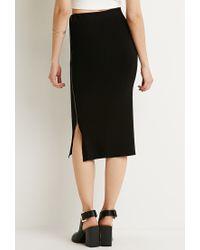 Forever 21   Black Contemporary Ribbed Side-zipper Midi Skirt   Lyst