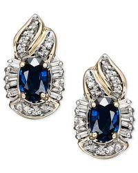 Macy's | Metallic 14k Gold Earrings, Sapphire (1-3/8 Ct. T.w.) And Diamond (1/4 Ct. T.w.) Swirl Stud Earrings | Lyst