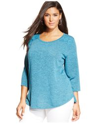 Style & Co. - Blue Plus Size Lace-back Swing Top - Lyst