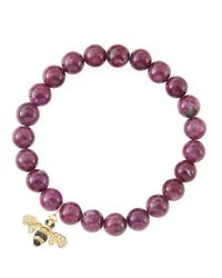Sydney Evan - Red 8Mm Natural Ruby Beaded Bracelet With 14K Gold/Diamond Small Bee Charm (Made To Order) - Lyst
