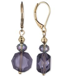 Jones New York | Gold-tone Purple Faceted Bead Drop Earrings | Lyst