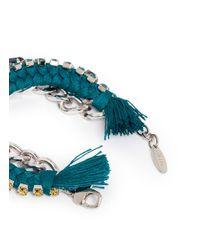 Joomi Lim | Blue Cotton Braid Crystal Bracelet | Lyst