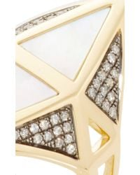 Noor Fares | Metallic Nellum Ring In White Mother Of Pearl | Lyst