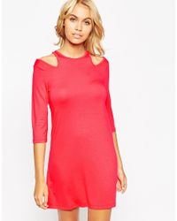 ASOS | Red Shift Dress With Cold Shoulder | Lyst