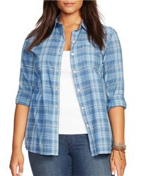 Lauren by Ralph Lauren | Blue Plus Striped Cotton Shirt | Lyst