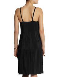 Marni - Black Pleated Satin-Crepe Slip Dress - Lyst