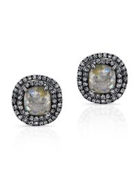 Anne Sisteron | Gray 14kt Oxidized White Gold Raw Diamond Double Halo Stud Earrings | Lyst
