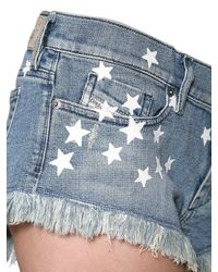 DIESEL | Blue Destroyed Stretch Denim Shorts | Lyst