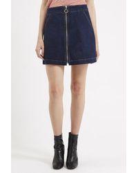 TOPSHOP - Blue Moto Zip Front A-line Mini Skirt - Lyst
