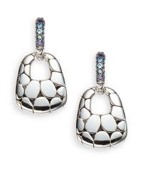 John Hardy - Metallic Kali Swiss Blue Topaz, Iolite & Sterling Silver Lava Earrings - Lyst