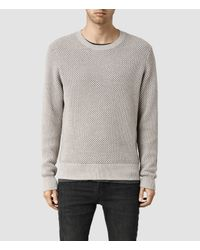 AllSaints - Natural Haltton Crew Jumper Usa Usa for Men - Lyst