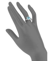 Saks Fifth Avenue - Blue Topaz Cushion, Pavã© Diamond & 14K White Gold Ring - Lyst