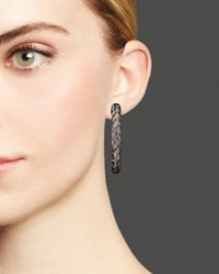 Roberto Coin - Metallic Sterling Silver And Ruthenium Hoop Earrings - Lyst