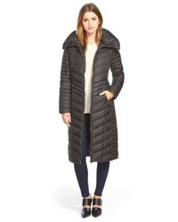 Marc New York - Black 'karen' Chevron Quilted Long Down & Feather Fill Coat - Lyst