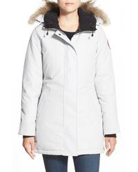 Canada Goose | Blue 'victoria' Slim Fit Down Parka With Genuine Coyote Fur Trim | Lyst