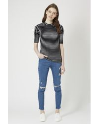 TOPSHOP - Blue Tall Exclusive Half Sleeve Striped Top - Lyst