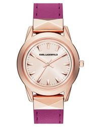 Karl Lagerfeld | Metallic 'labelle' Stud Leather Strap Watch | Lyst