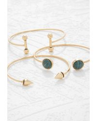 Forever 21 - Metallic Faux Stone Cuff Set - Lyst
