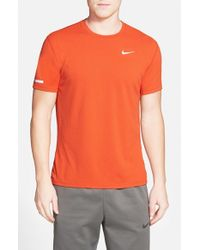 Nike | Orange 'contour' Mesh Dri-fit Running T-shirt for Men | Lyst