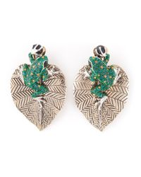 Roberto Cavalli | Metallic Frog And Leaf Earrings | Lyst