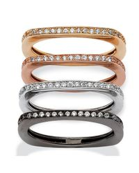 Palmbeach Jewelry - Metallic .90 Tcw 4-pc. Set Of Squared-back Cubic Zirconia Eternity Bands In Black, Rose, Gold And Silvertone - Lyst