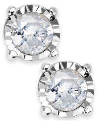 Macy's | Metallic Diamond 4-Prong Illusion Stud Earrings In Sterling Silver (1/3 Ct. T.W.) | Lyst