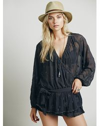 Free People - Gray Womens Embellished Wrap Tunic - Lyst