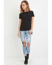 Forever 21 | Black Slub Knit Pocket Tee | Lyst